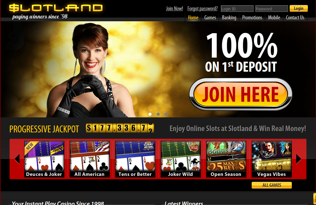 Slotland Rated out of 5 - EXCLUSIVE 66 No Deposit Bonus