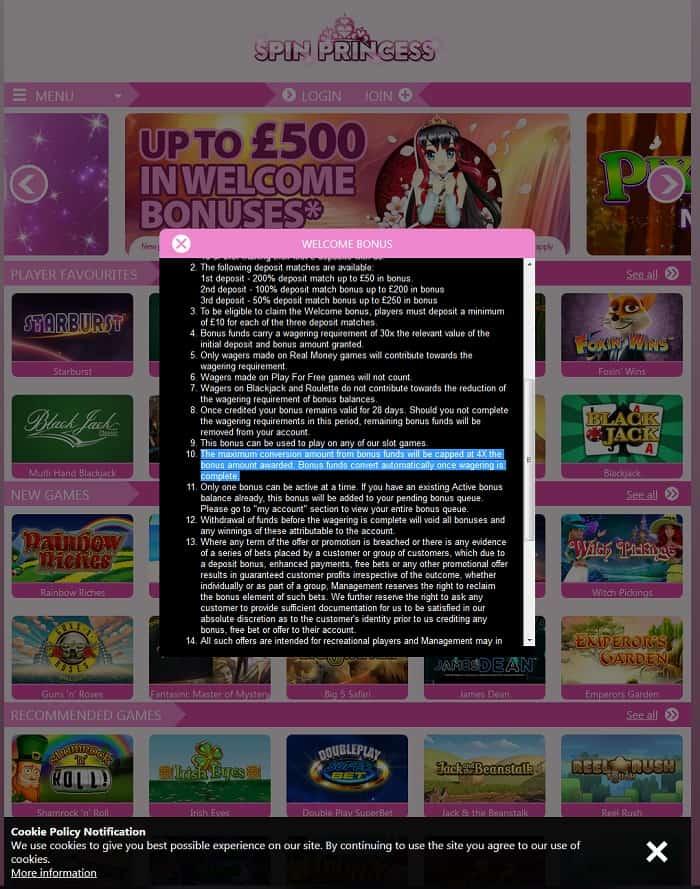 Spin Princess Casino Review