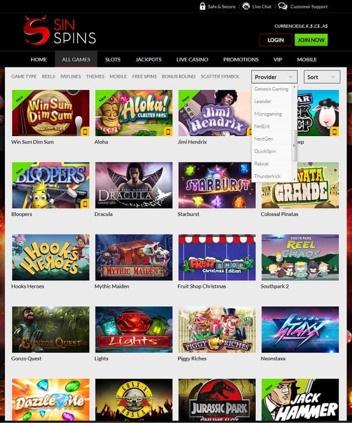 sin spins casino review