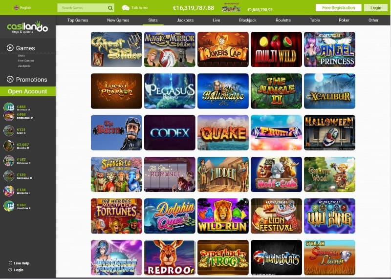 casilando casino screenshot