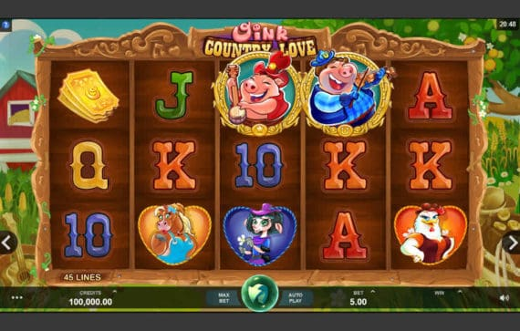 Oink Country Love Slot Machine by Microgaming
