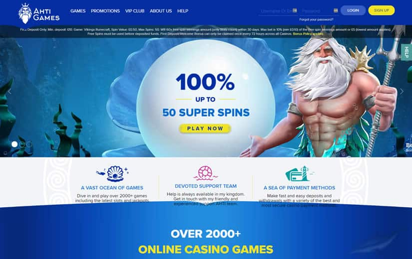 AHTI Casino Homepage