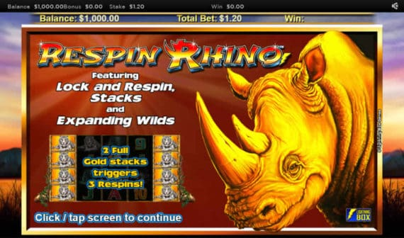 Respin Rhino Slot Machine Bonus by Nyx