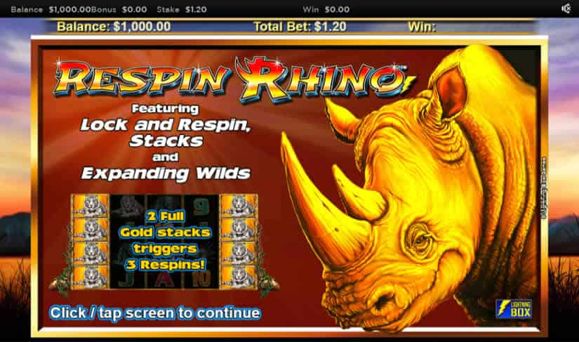Respin Rhino Slot Machine Bonus by Nyx
