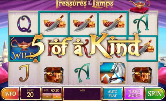 Treasures Of The Lamps Slot Win - 5 of a Kind