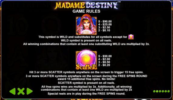 Madame Destiny slot bonus features