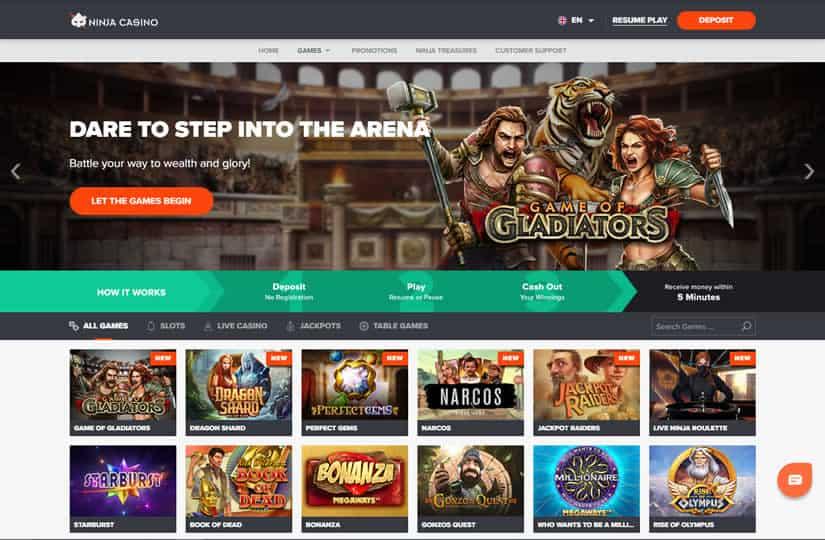 Ninja Casino Home Page