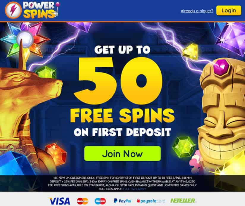 PowerSpins Casino Homepage