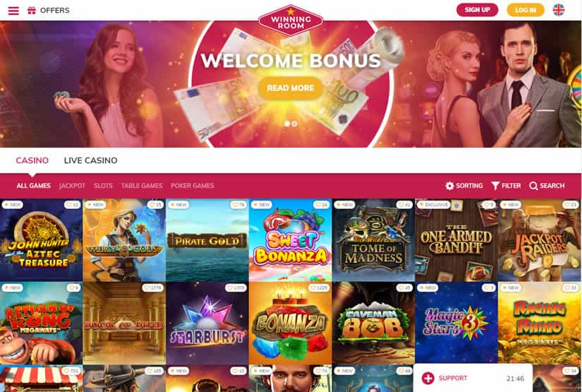 Winning Room Casino Homepage