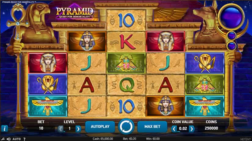 Pyramid: Quest for Inmortality slot by NetEnt: Best Egypt themed slot machines