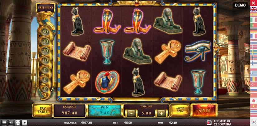 Play the Asp of Cleopatra slot at Red Rake Gaming Casinos