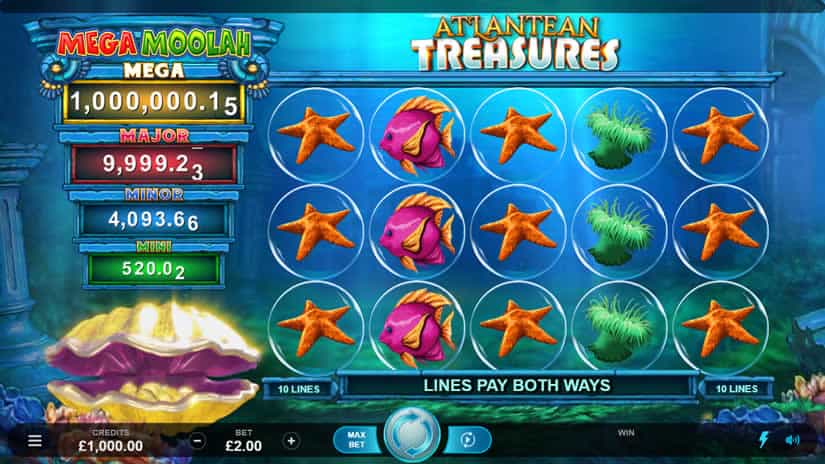 Atlantean Treasures Mega Moolah slot by Neon Valley Studios: One of the best slots to play in March 2020